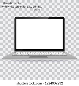 Mockup of realistic laptop. Realistic laptop and white screen laptop for easy editing