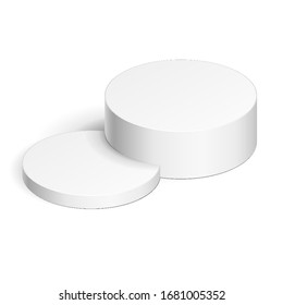Mockup Round, Circular Stage Podium, 3D Pedestal. Stand Product Mock Up Isolated on White Background.