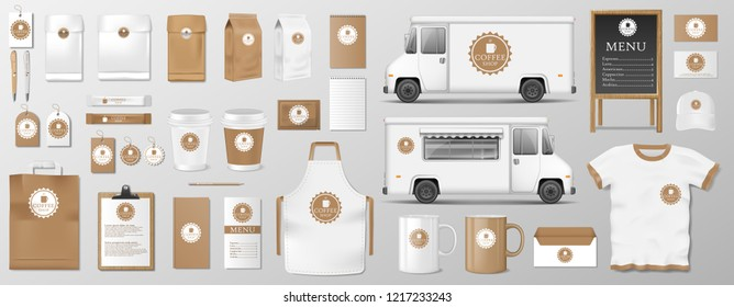 Mockup set for coffee shop, cafe or restaurant. Coffee food package for corporate identity design. cardboard, Food delivery truck, cup, pack, shirt, menu EPS 10
