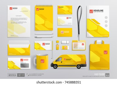 Mock-Up set of Corporate Brand Identity yellow and white abstract geometric design. Graphics on guide, annual report, corporate van, brochure, corporate yellow mug. Stationery elements mockup template