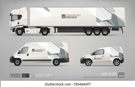 Mockup set of hi-detailed Truck Trailer, Cargo Van, Freight Car - vector template. Abstract graphic elements on Car layout for Branding and Corporate identity.  Branding mockup