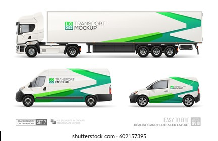 Mockup set of hi-detailed Truck Trailer, Delivery Van, Freight Car - vector template. Green abstract graphic elements on Car layout for Branding and Corporate identity