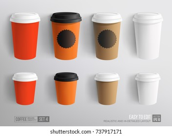 Mockup set of paper and plastic Coffee Cup - template for Cafe, Restaurant brand identity design. Red, White, Brown cardboard Coffee Cup Mockup. Plastic cup for Hot Drinks