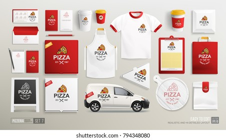 Mockup set of Pizza Cafe Restaurant Corporate Brand identity with Pizza flat line logo. White and Red MockUp set of Pizza logo, delivery box, uniform, paper food package. Pizzeria Shop identity