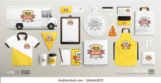 Mockup set of Pizza restaurant Corporate Brand identity with Pizza Delivery flat line logo. White and Yellow MockUp set for Pizzeria Shop corporate identity