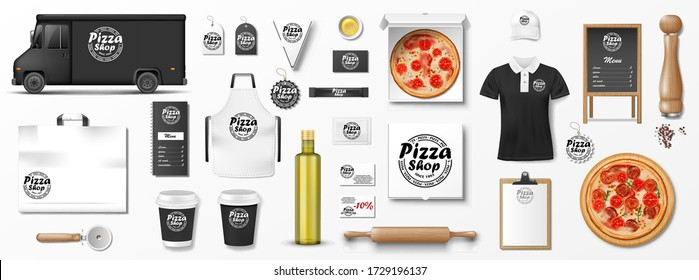 Mockup set for pizzeria, cafe or restaurant. Realistic branding set of pizzeria delivery truck, uniform, pizza box, menu, cardboard package. Pizza mockup elements for presention and advertising