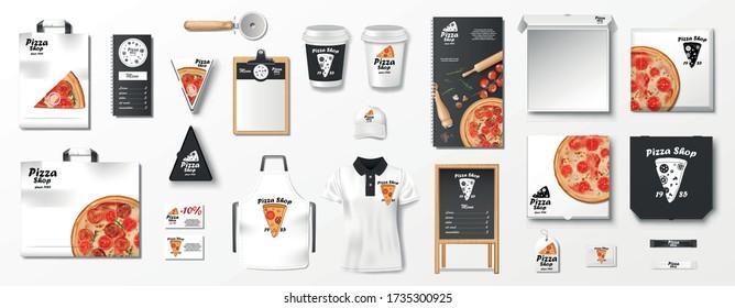 Mockup set for pizzeria, cafe or restaurant. Realistic branding set of pizzeria flyer, uniform, pizza box, menu, cardboard package. Pizza mockup elements Top view. vector illustration