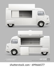 Mockup set of Retro Food Truck isolated on grey. Realistic Fast-food Van with sign and plate template for Mockup Branding and corporate identity design on transport. White blank Street food Truck