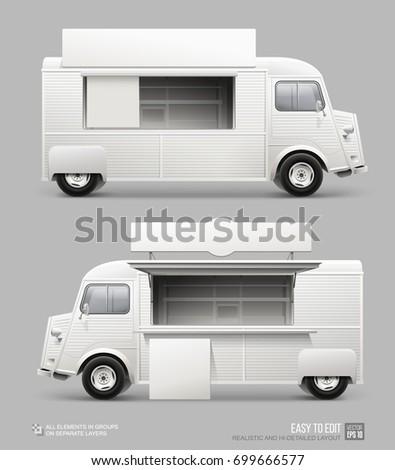 Mockup Set Of Retro Food Truck Isolated On Grey Realistic Fast Van With