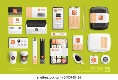 Mockup set of Sushi rolls package, sticks, rolls, chopsticks, shopping bag, mobile delivery app for Brand identity and advertising. Corporate style for Sushi Bar, Japanese restaurant. Vector mockups