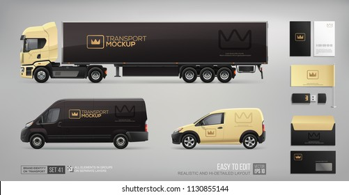 Mockup set of Transport Corporate Brand Identity and stationary elements. Business Mockup with crown icon logo on Truck Trailer, Cargo Van, Delivery Car on black background