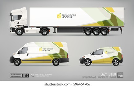Mockup Set of Truck Trailer, Cargo Van, Delivery Car - vector template. Abstract green graphic elements for transport Brand identity and Advertising. Set of delivery Transport