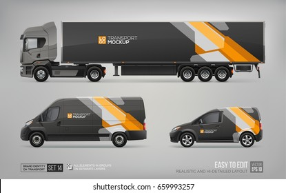 Mockup set of Truck Trailer, Cargo Van, Delivery Car - vector template. Black and orange abstract geometric graphics elements on Car for Branding and Corporate identity design. Black brand identity