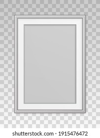 Mockup silver frame photo on wall. Mock up picture framed. Vertical boarder with shadow. Empty photoframe isolated on transparent background. Border for design prints poster and painting image. Vector