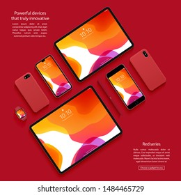 mockup of smartphones, tablets and smartwatch top view on a red background. devices set. stock vector illustration
