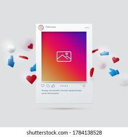Mockup of Social Network Interface. Social Media Design Concept. 3d Vector Illustration