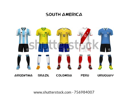3cd02148243 mockup of South America football jersey . Concept for soccer uniform of  team that qualified to
