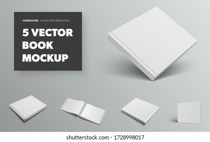 Mockup of a standard vector book, with realistic shadows, front and back views, for presentation of design and pattern. Set of templates with white blank hardcover and landscape orientation