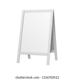 Mockup Stander Advertising Stand Banner, Double Sided Sidewalk Outdoor Indoor Shield Display, Advertising. Illustration Isolated On White Background. Mock Up Template Ready For Your Design.