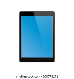 Mockup of a tablet with blank blue screen.