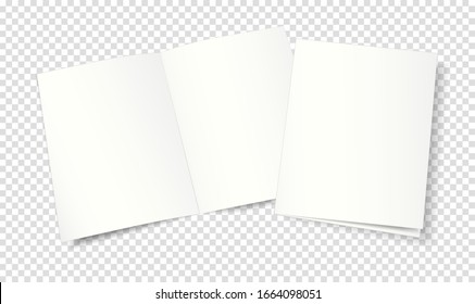 Mockup, template of an open and closed two-page booklet, notebook, brochure, magazine, book. Transparent background. 3d vector illustration for your design.