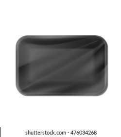 Mockup template polystyrene tray container. Vector illustration on white background. Ready for your design.
