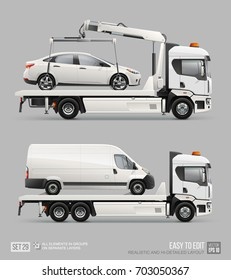 Mockup Tow truck for transportation faults and emergency cars vector template. Realistic Mockup Car towing truck Evacuator isolated on grey background