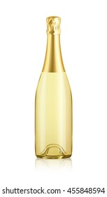 Mock-up Transparent Isolated Realistic Champagne Gold Bottle Vector