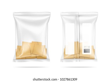 Mockup of transparent pillow bag with cookies. Vector illustration on white background. Can be use for template your design, promo, adv. EPS10