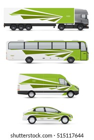 Mockup vehicles for advertising and corporate identity. Branding design for transport. Passenger car, bus and van. Graphics elements with abstract modern geometric shapes.