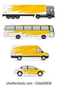 Mockup vehicles for advertising and corporate identity. Branding design for transport. Passenger car, bus and van. Graphics elements with abstract artistic watercolor brush strokes.