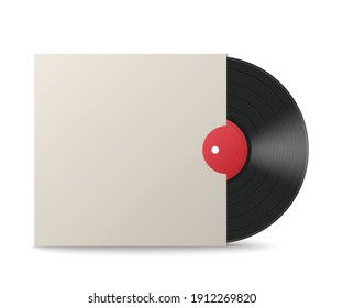 Mockup of vinyl music disc in blank white envelope cover, 3d realistic vector illustration isolated on white background. Music lp retro vinyl disc template.