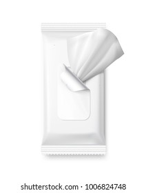 Mockup of wet wipe flow pack with realistic transparent shadows. Vector illustration isolated on white background, ready and simple to use for your design.