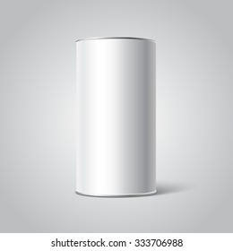 Mockup of White Blank Tincan packaging. Tea, coffee, dry products, gift box. Place your design.