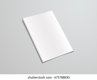 Mockup   white brochure on a gray background. The design of the booklet with a stapled clip for presentation of covers. Vector illustration