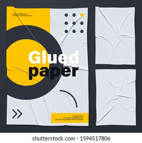 Mockup of white glued wrinkled poster. Set of vector realistic crumpled wet glued paper posters. Cool modern posters that are easy to edit and use in your presentation. Everything is grouped by layers