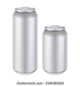 Mockup White Metal Aluminum Beverage Drink Can 500ml, 0,5L. Beer, Soda, Lemonade, Juice, Energy. Mock Up Template Ready For Your Design. Isolated On White Background. Product Packing. Vector EPS10