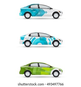 Mockup of white passenger car. Set of design templates for transport. Branding for advertising, business and corporate identity with modern geometric shapes.