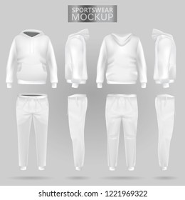 Mockup of the white sportswear hoodie and trousers in four dimensions: front, side and back view, gradient mesh vector. Clothes for sport and urban style
