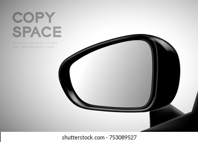 Mock-up wing mirror car view from inside illustration black color isolated on gradient background, with copy space