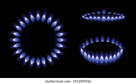 Mockups set of kitchen gas burner in three various positions, realistic vector illustration isolated on black background. Blue flames of natural gas template.