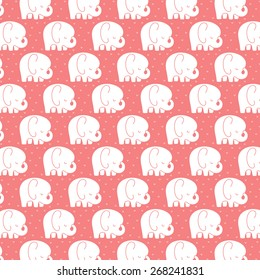 Mod Baby Elephants Pattern Coral