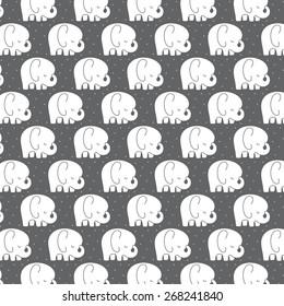 Mod Baby Elephants Pattern Grey