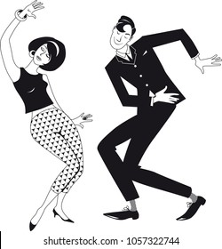 Mod couple dressed in early 1960s fashion dancing the Twist, EPS 8 black vector silhouette, no white objects