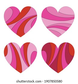 mod pink red pattern valentine vector hearts