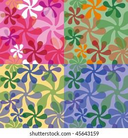 "Mod seamless pattern in four colorways.  Repeat size is 6""."