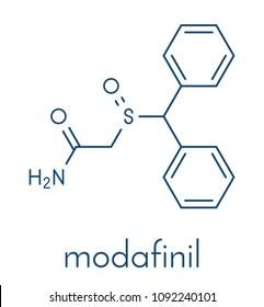 Modafinil wakefulness promoting drug molecule. Used to treat narcolepsy. Skeletal formula.