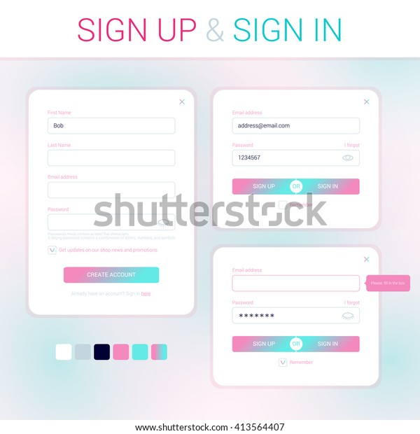 Modal Windows Development Web Site Signup Stock Vector Royalty Free 413564407