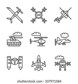 Mode of military unmanned transport. UAV, tanks, robots and other samples. Flat black line vector icons set. Design elements for website or mobile app.