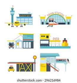 Mode of Transport Illustration Icons Objects, Station Concept